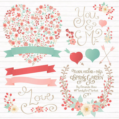 Floral Heart Clipart in Mint & Coral by Amanda Ilkov - Mandy Art Market - 1