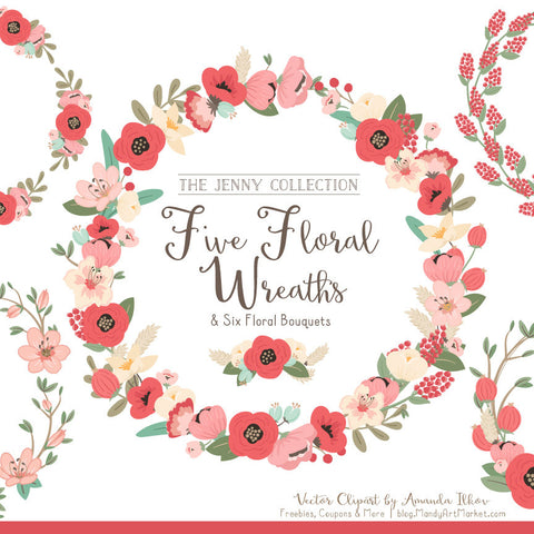 Round Floral Wreaths Clipart in Mint & Coral by Amanda Ilkov - Mandy Art Market - 1