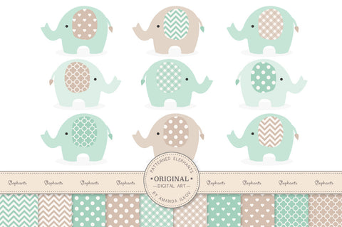 Elephant Clipart & Digital Papers in Mint by Amanda Ilkov - Mandy Art Market