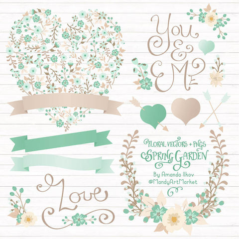 Floral Heart Clipart in Mint by Amanda Ilkov - Mandy Art Market - 1