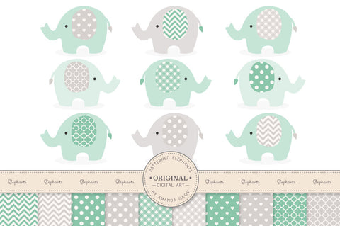Elephant Clipart & Digital Papers in Mint & Grey by Amanda Ilkov - Mandy Art Market