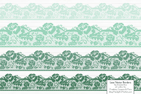 Lace Border Clipart in Mint by Amanda Ilkov - Mandy Art Market - 1