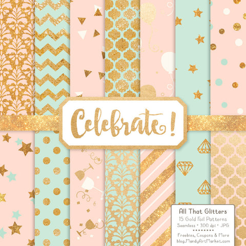 Celebrate Gold Foil Digital Papers in Mint & Peach by Amanda Ilkov - Mandy Art Market - 1