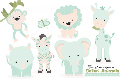 Safari Animals Clipart in Mint Green by Amanda Ilkov - Mandy Art Market - 1