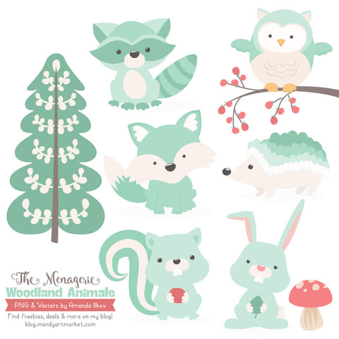 Woodland Animals Clipart in Mint by Amanda Ilkov - Mandy Art Market - 1