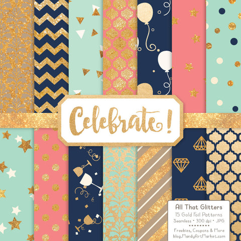 Celebrate Gold Foil Digital Papers in Modern Chic by Amanda Ilkov - Mandy Art Market - 1