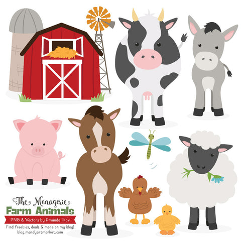 Farm Animals Clipart in Natural by Amanda Ilkov - Mandy Art Market - 1