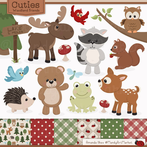 Woodland Animals Clipart & Patterns In Natural by Amanda Ilkov - Mandy Art Market - 1