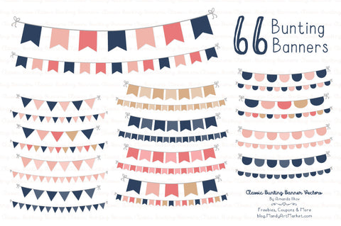 Classic Bunting Banner Clipart in Navy & Blush by Amanda Ilkov - Mandy Art Market - 1