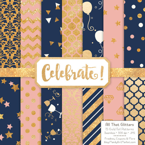 Celebrate Gold Foil Digital Papers in Navy & Blush by Amanda Ilkov - Mandy Art Market - 1