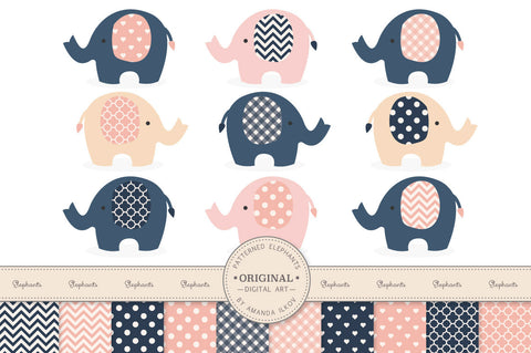 Elephant Clipart & Digital Papers in Navy & Blush by Amanda Ilkov - Mandy Art Market