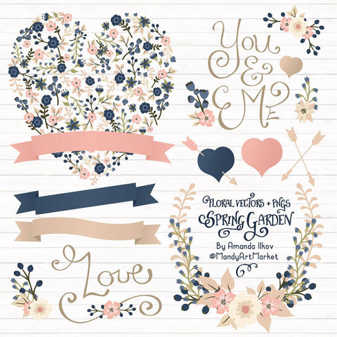 Floral Heart Clipart in Navy & Blush by Amanda Ilkov - Mandy Art Market - 1