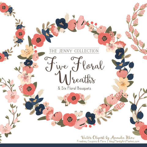 Round Floral Wreaths Clipart in Navy & Blush by Amanda Ilkov - Mandy Art Market - 1