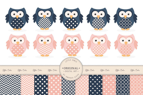 Owl Clipart & Digital Papers in Navy & Blush by Amanda Ilkov - Mandy Art Market - 1