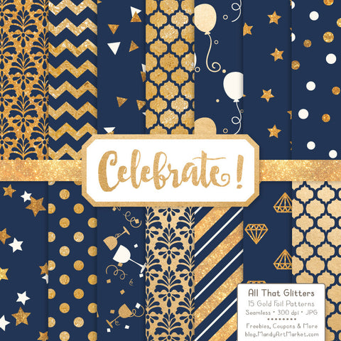 Celebrate Gold Foil Digital Papers in Navy by Amanda Ilkov - Mandy Art Market - 1