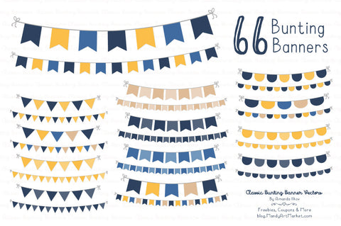 Classic Bunting Banner Clipart in Navy & Lemon by Amanda Ilkov - Mandy Art Market - 1