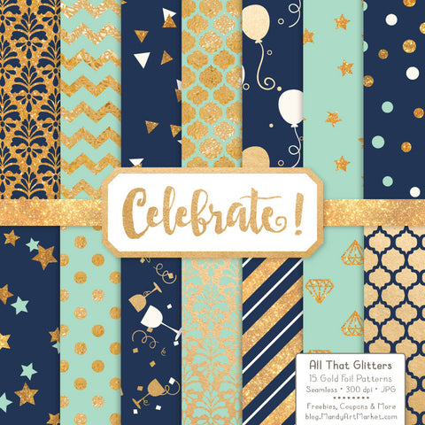 Celebrate Gold Foil Digital Papers in Navy & Mint by Amanda Ilkov - Mandy Art Market - 1