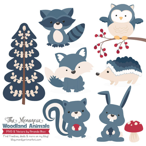 Woodland Animals Clipart in Navy by Amanda Ilkov - Mandy Art Market - 1