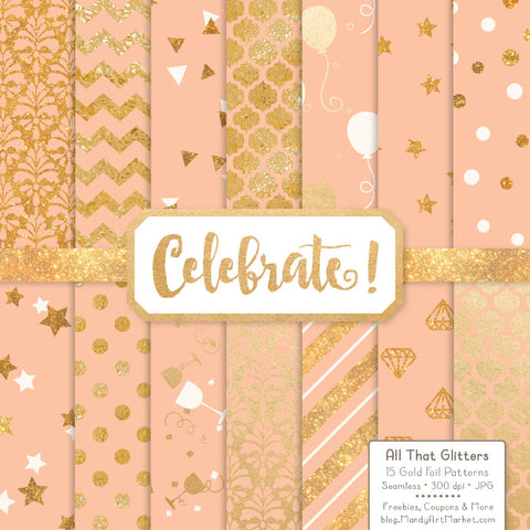 Celebrate Gold Foil Digital Papers in Peach by Amanda Ilkov - Mandy Art Market - 1