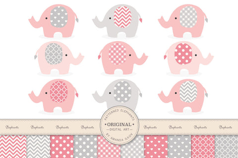 Elephant Clipart & Digital Papers in Pink & Grey by Amanda Ilkov - Mandy Art Market