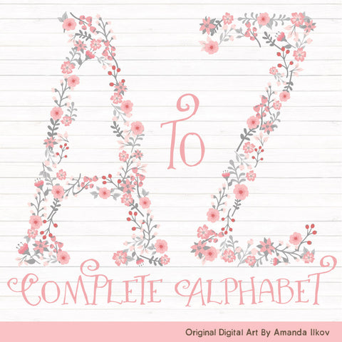 Floral Alphabet in Pink & Grey by Amanda Ilkov - Mandy Art Market - 1
