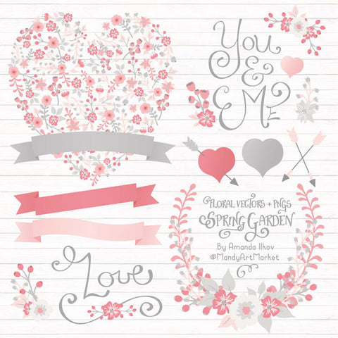 Floral Heart Clipart in Pink & Grey by Amanda Ilkov - Mandy Art Market - 1