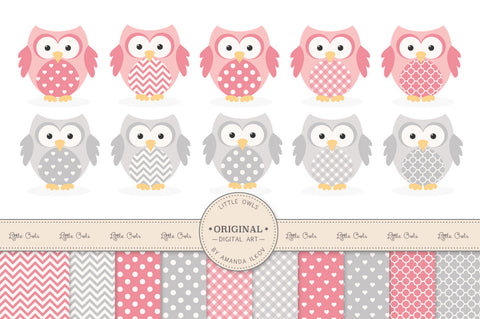 Owl Clipart & Digital Papers in Pink & Grey by Amanda Ilkov - Mandy Art Market - 1