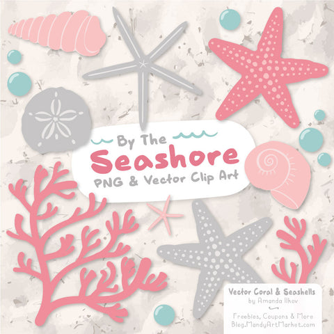 Seashells Clipart in Pink & Grey by Amanda Ilkov - Mandy Art Market - 1