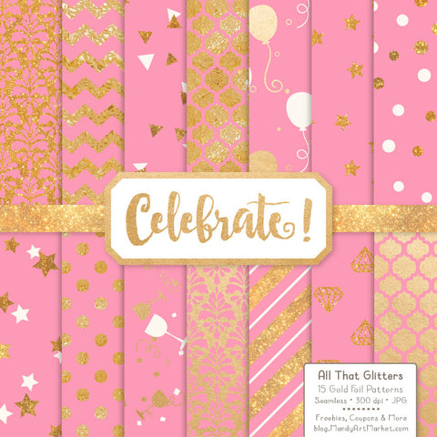 Celebrate Gold Foil Digital Papers in Pink by Amanda Ilkov - Mandy Art Market - 1