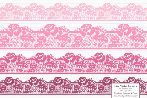 Lace Border Clipart in Pink by Amanda Ilkov - Mandy Art Market - 1