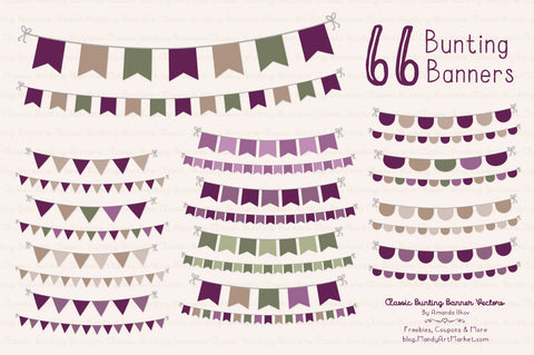 Classic Bunting Banner Clipart in Plum by Amanda Ilkov - Mandy Art Market - 1