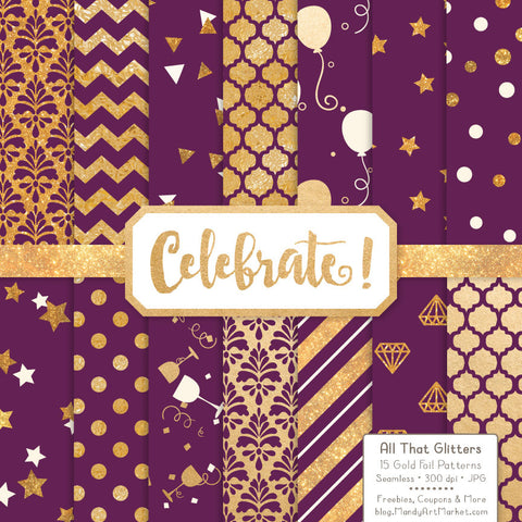 Celebrate Gold Foil Digital Papers in Plum by Amanda Ilkov - Mandy Art Market - 1