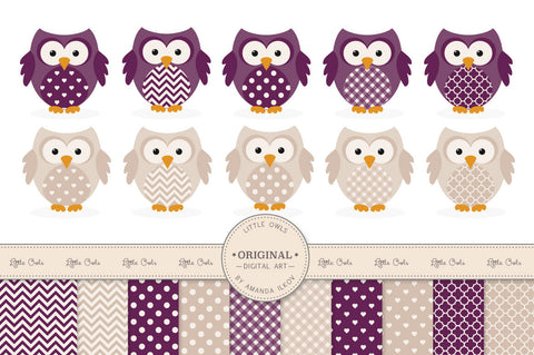 Owl Clipart & Digital Papers in Deep Plum by Amanda Ilkov - Mandy Art Market - 1