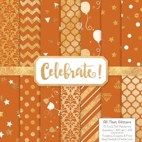 Celebrate Gold Foil Digital Papers in Pumpkin by Amanda Ilkov - Mandy Art Market - 1