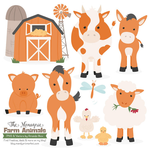 Farm Animals Clipart in Pumpkin by Amanda Ilkov - Mandy Art Market - 1