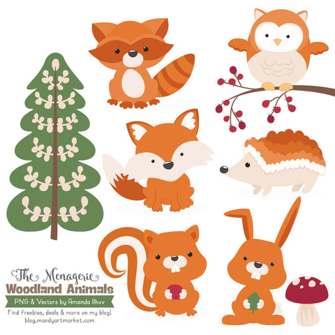 Woodland Animals Clipart in Pumpkin by Amanda Ilkov - Mandy Art Market - 1
