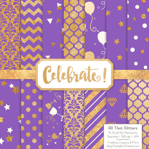 Celebrate Gold Foil Digital Papers in Purple by Amanda Ilkov - Mandy Art Market - 1
