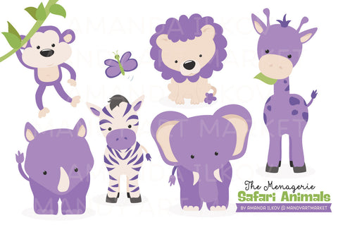 Safari Animals Clipart in Purple by Amanda Ilkov - Mandy Art Market - 1
