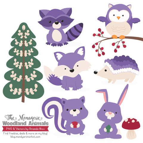 Woodland Animals Clipart in Purple by Amanda Ilkov - Mandy Art Market - 1