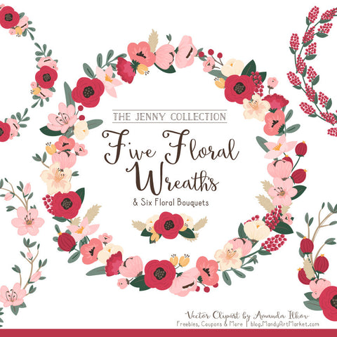 Round Floral Wreaths Clipart in Rose Garden by Amanda Ilkov - Mandy Art Market - 1