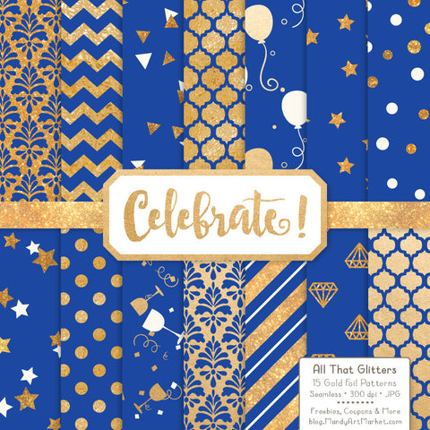 Celebrate Gold Foil Digital Papers in Royal Blue by Amanda Ilkov - Mandy Art Market - 1