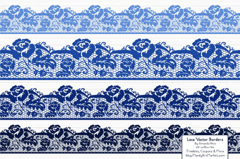 Lace Border Clipart in Royal Blue by Amanda Ilkov - Mandy Art Market - 1