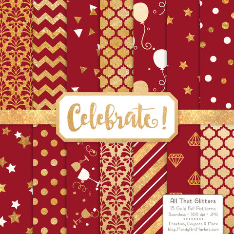 Celebrate Gold Foil Digital Papers in Ruby by Amanda Ilkov - Mandy Art Market - 1