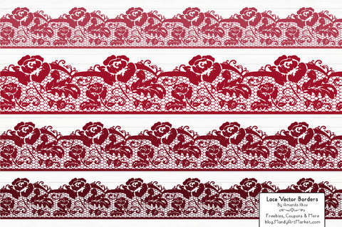 Lace Border Clipart in Ruby by Amanda Ilkov - Mandy Art Market - 1