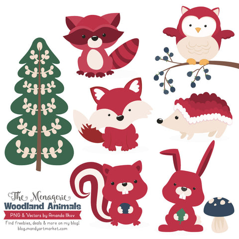 Woodland Animals Clipart in Ruby by Amanda Ilkov - Mandy Art Market - 1