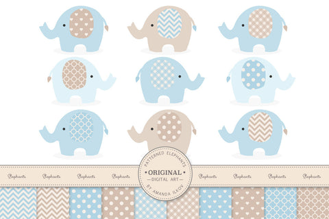 Elephant Clipart & Digital Papers in Soft Blue by Amanda Ilkov - Mandy Art Market