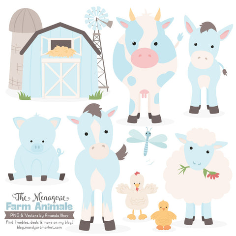 Farm Animals Clipart in Soft Blue by Amanda Ilkov - Mandy Art Market - 1