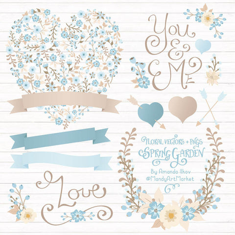 Floral Heart Clipart in Soft Blue by Amanda Ilkov - Mandy Art Market - 1