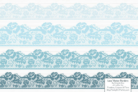 Lace Border Clipart in Soft Blue by Amanda Ilkov - Mandy Art Market - 1
