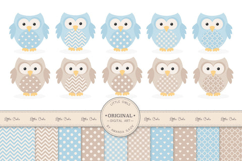 Owl Clipart & Digital Papers in Soft Blue by Amanda Ilkov - Mandy Art Market - 1